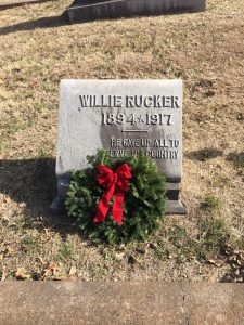 Headstone with remembrance wreath