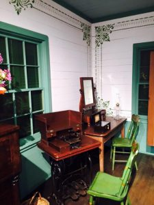 historic sewing machine sits in the Texas Room