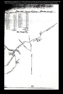 Reproduction of a page from V N Zivley's field notes showing markers #22 and #23