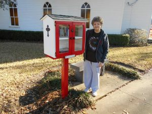 The new Little Free Library at the historic church