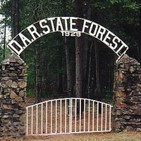 Gate and signage at the Texas DAR State Forest